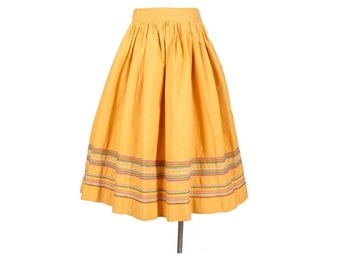 Vintage 50s Skirt - 50s Full Skirt - Yellow Skirt - Embroidered Skirt - Cross Stitch - 50s Yellow Skirt - Navajo Yellow - High Waist - S XS