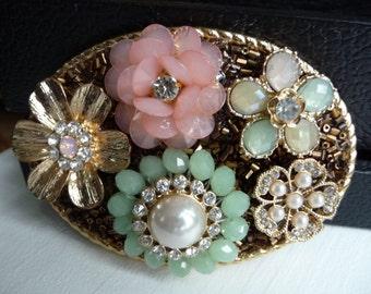 Pink Green Flower Belt Buckle- Pearls Rhinestones- Spring Summer Pastel Floral Belt Buckle- Women's Custom Belt Buckle- Gold Oval- Gift Idea