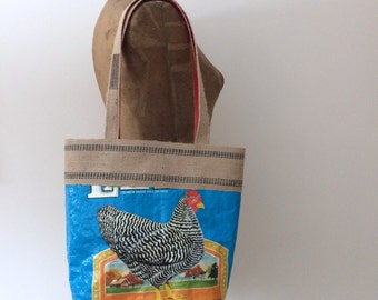 Upcycled Chicken Feed Bag Tote with Natural Jute Webbing Trim, OOAK, Made in Maine