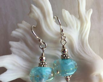 Ice Blue Artisan Lampwork Beads with Sterling Beads and French Wires