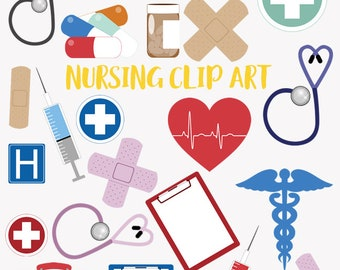 Nursing clip art set, hospital healthcare, nurse and doctor clipart symbols (LC01)