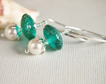 Teal Blue Green Glass Bead Earrings, Lampwork Discs, Silvered Glass,Swarovski, Pearl Earrings, Sterling Silver Earrings - BALI