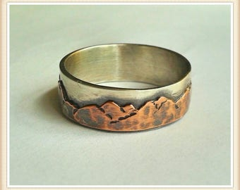 Mountain  wedding band sterling and copper - wide width 7-9 mm - mens band -ladies band- unisex band- nature lover- rustic--organic