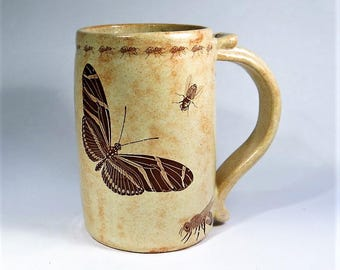 Bug Mug Sepia Ceramic Extra Large 14 Oz Handmade Ceramic Pottery Coffee Cup