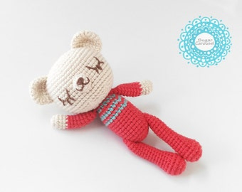 Crochet Sleepy Polar Bear in pajamas - handmade cute cotton soft baby amigurumi kid children plush toy doll animal cuddly newborn photo prop