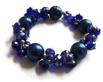Blue Beads & Purple Crystals Bracelet Vintage Stretch