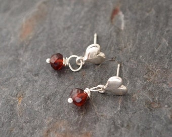 Sterling Silver Hearts and Garnet Post Earrings