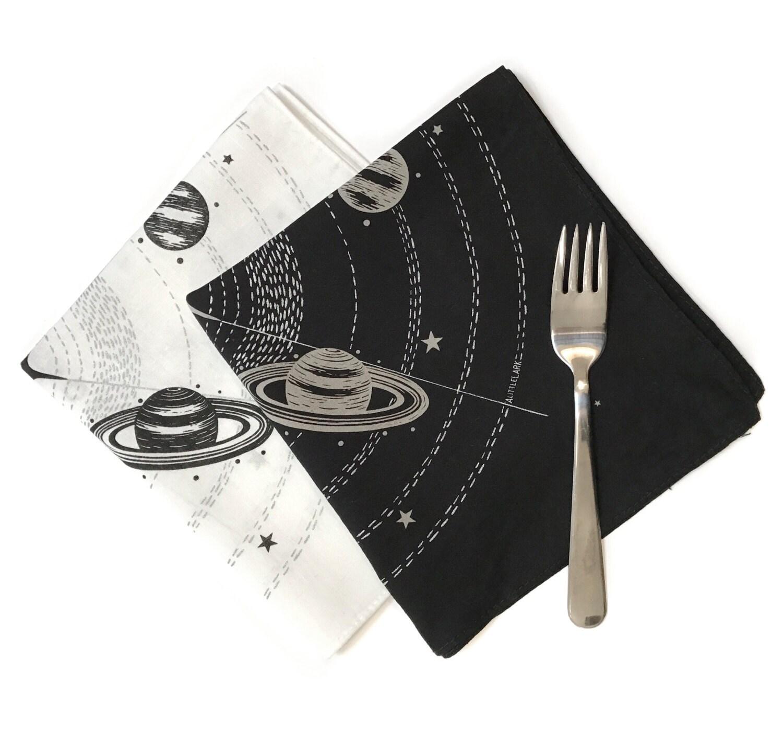 Black Cocktail Napkins : Cocktail napkins printed cotton party black white
