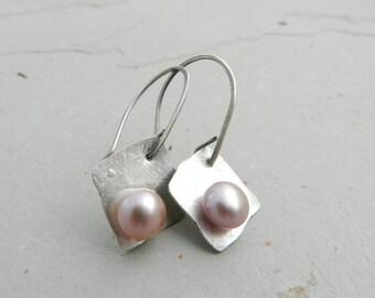 Organic Sterling & Pink Blush Pearl Earrings-Metalsmith-Artisan