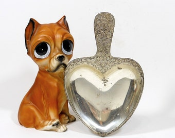 Vintage Dog Trophy | Award Heart Dish | Golden Gate Boxer Club | Second Prize Tray | Ornate Trinket Ring Dish | Home Decor | Dog Lover Gift