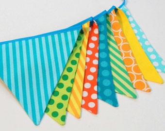 Monster Birthday Party Banner Decoration, Baby Shower Bunting -- Teal, Aqua Blue, Lime Green, Orange, Yellow, Turquoise Fabric Flags