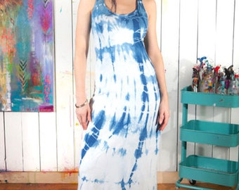 Indigo Shibori -  Organic Cotton Maxi Dress