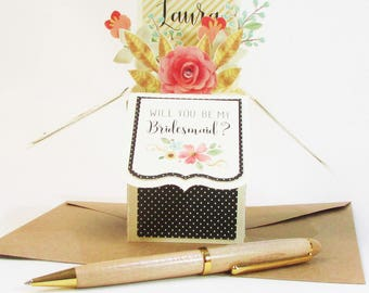 Will You Be My Bridesmaid Card / Unique Box Style Pop Up Greeting Card / Custom Bridesmaid Floral Box Card / Maid of Honor Card