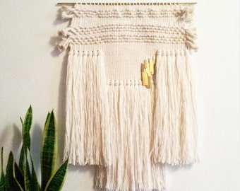 woven wall hanging / white moon weaving / hand woven wall hanging art tapestry