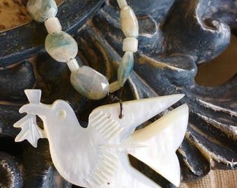 Mother of Pearl Dove of Peace with Silverite Necklace