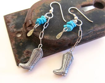 Funky Southwestern Earrings w Cowboy Boots, Turquoise, and Sterling