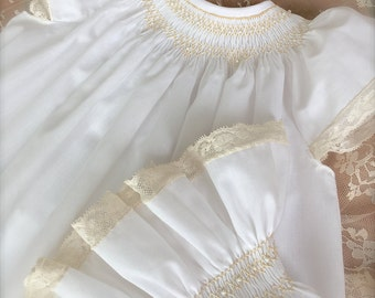 3 Piece Set Angel Baby Pearl White Ecru  Hand Smocked Heirloom Lace  Girl Vintage Size 9 months to 4 Matching Top, Pantaloons and  Bonnet
