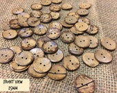 Medium Wooden Coconut Shell Buttons 25mm 1 inch