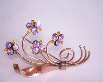 Amethyst  Rhinestone Flower Brooch Gold  Tone