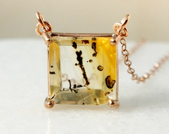 Square Dendritic Quartz Necklace – Gold Dendritic Quartz Pendant