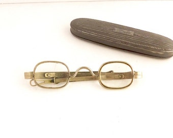 Antique 1800s Eyeglasses Frames Civil War Era Coin Silver with Sliding Temperal Arms 19th Century With Case #D848 #M532