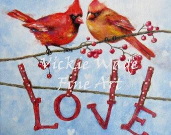 Cardinals Love ORIGINAL painting, 11X14, cardinal bird paintings, red birds, valentine's day, snow birds, love birds, Vickie Wade Art