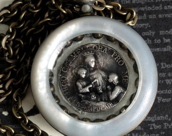 RELIQUARY Mother of Pearl Antique Pocket Watch Case Necklace. Sterling Silver French Antique Medal Resin Pendant. Renaissance Assemblage