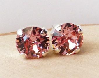Pink Swarovski Stud Earrings, Crystal Rhinestone Stud Earrings, Light Rose Post Earrings, Silver Round Crystal Studs, Gift, Bridesmaid Gifts