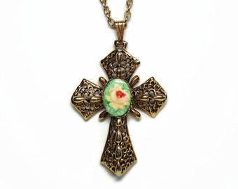 Designer Gold Cross Pendant with Porcelain Rose Cameo on 24 Inch Rolo Link Chain and Spring Ring Clasp - Vintage 50's Costume Jewelry