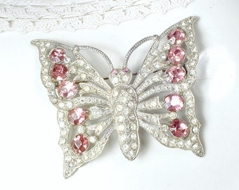 Antique Pink Bridal Hair Comb OR Sash Brooch, 1930s Art Deco Pink Rhinestone LARGE Butterfly Wedding Headpiece/Accessory Silver Pave Crystal