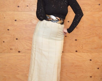 Vintage 60's Romantic Embroidered Creamy Edwardian Style Maxi Skirt SZ S