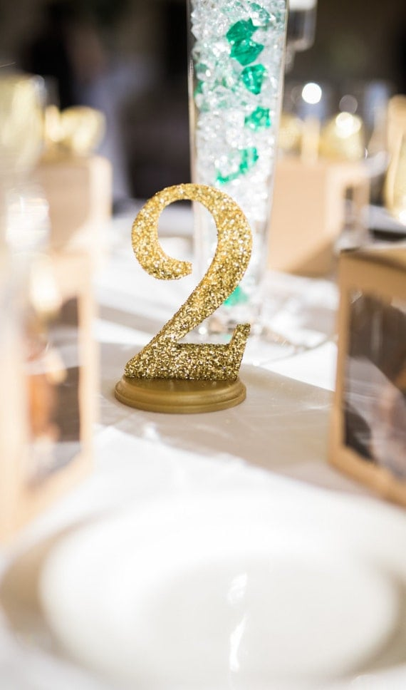 Glitter wedding table numbers for centerpiece decor table for Glitter numbers for centerpieces