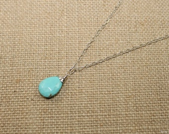 Sleeping Beauty Turquoise Necklace, Wire Wrap Pendant, Turquoise Jewelry, December Birthstone, Gemstone Jewelry