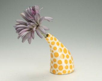 Ceramic Vase, Polka Dot Vase, Yellow Orange Gold Dots, Modern Vase, Ceramic Bud Vase, Curved Vase Hand Painted Polka Dots