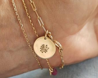 Gold Charmed Bracelet, Gold Chain Bracelet, Dandelion Charm, Personalized Initial Charm Bracelet, Handmade Bracelets, Venexia Jewelry