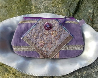 Handmade Pouch Clutch, Lavender Velvet Corduroy, Antique Metallic Embroidered Sari Trim, Beading, Jewels, Sequin, Lined