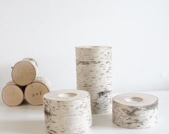 white birch wooden candle holders set of 3 (Large) - birch candle holders, log candle holders, tree candle holders, romantic gift