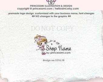 1214-10 girl logo, cute doll logo, hand drawn little girl logo, bird, kids boutique logo, character logo, children business, bow, handcraft