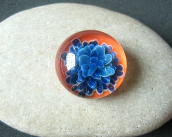 Deep Blue Bouquet - Lampwork Glass Cabochon - Jewelry Making Supply - 18mm