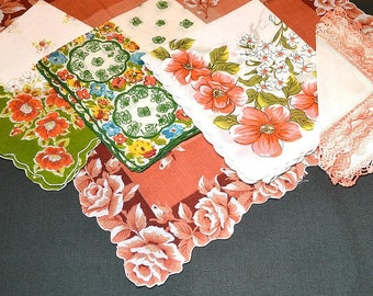 Lot of 5 Hankies Coral Reds Aqua Roses Abstract Geometric Linen Cotton Hand Rolled Corded Crochet Edges New to Excellent Vintage Condition