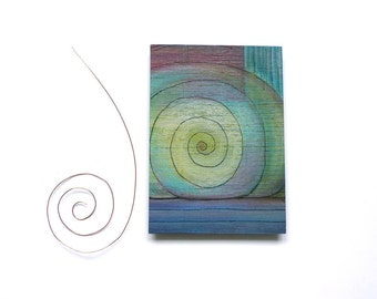 Mini Art ACEO, One-of-a-kind painting on wood, mixed media original