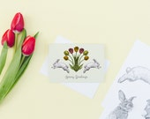 Spring Greetings Card // Bunny Card - Spring Awakening - Nature Card