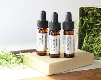 Beard Oil Sampler set | Christmas Gifts for Him | Trial Size Beard Oil | 100% natural + vegan beard oils | Set of 3
