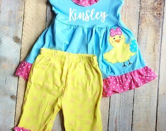 Personalized (any name) Spring Easter Chick Ruffle girl's tunic and capris outfit