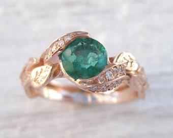 Rose Gold natural Emerald Leaf Ring, Leaves Engagement Ring, Emerald Engagement Ring, Leaf Ring With Emerald, Wedding Floral Green Leaf Ring