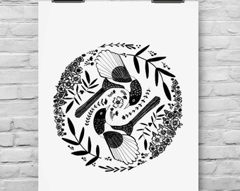 Magpies Illustrated Art Print, Folk art nature drawing Botanical style art black and white decor floral art print floral