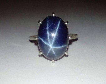 Huge Natural Blue  Star Sapphire In Sterling Silver Cocktail Ring, 16.41ct. Size 6.75