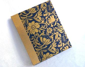 Large Art Nouveau Floral Moonflower Photo Album Handbound Archival Quality Indigo Blue Unryu Metallic Gold Portrait Orientation 50 Pages