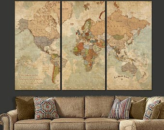 Push Pin Travel Map of World, Vintage Map, Push Pin Map, Push Pin World Map, World Map Canvas Wall art, Large Canvas, Father Day