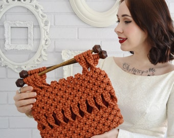 Vintage Rust Orange Macrame Handbag with Wood Handles and Polyester Lining